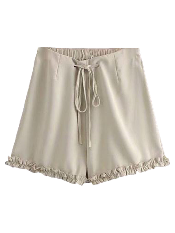 Goodnight Macaroon 'Avery' Drawstring Ruched Casual Shorts Beige Front