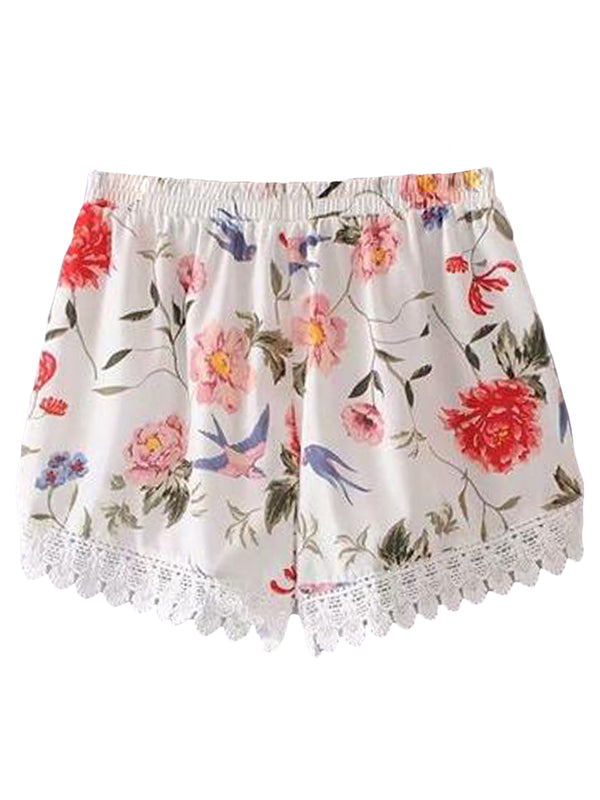Goodnight Macaroon 'Nova' Floral Lace Pleated Casual Shorts Back