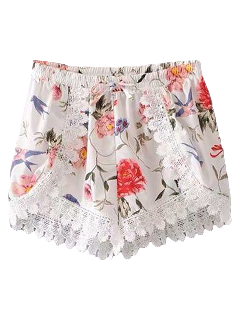 Goodnight Macaroon 'Nova' Floral Lace Pleated Casual Shorts Front