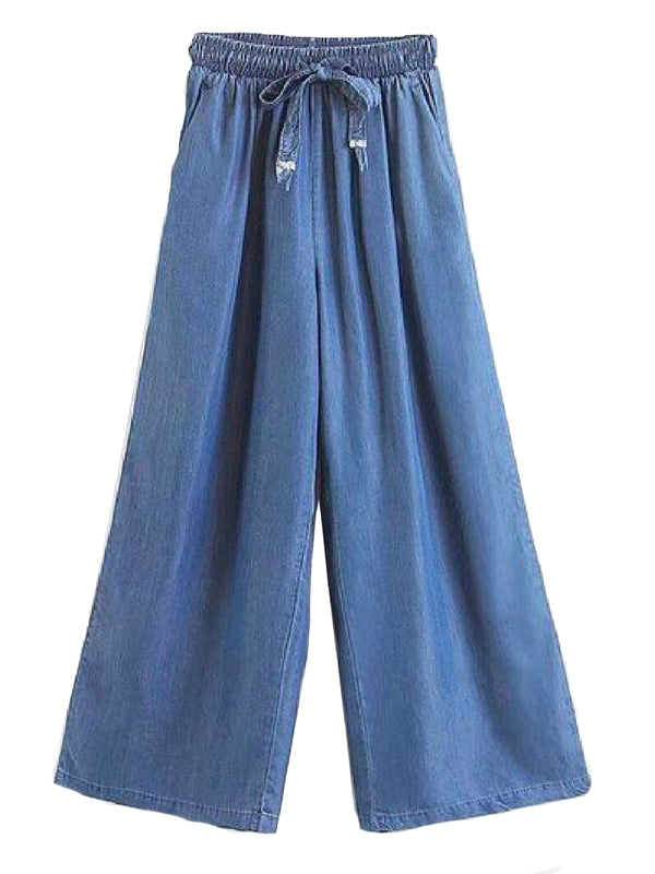 Goodnight Macaroon 'Coco' Pleated Waist Chambray Straight Pants Dark Blue Front