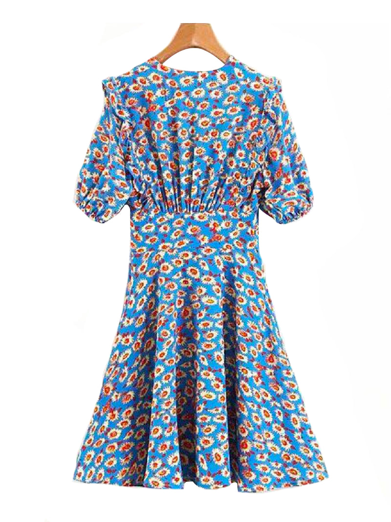 Goodnight Macaroon 'Shea' Floral Print Ruffle Flare Dress Back