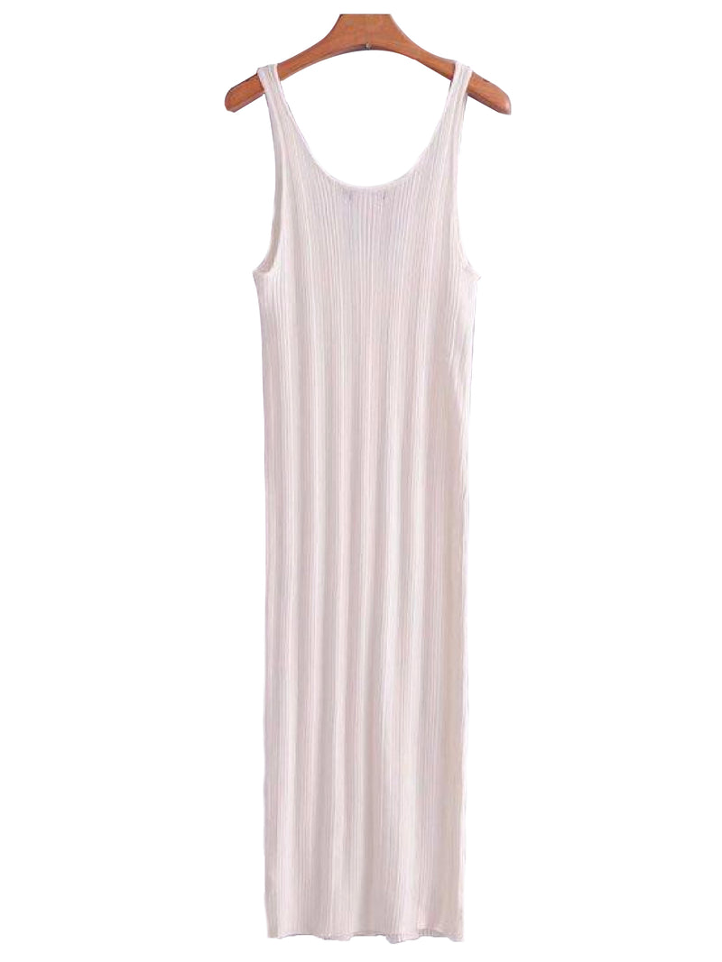 Goodnight Macaroon 'Doris' Ribbed Sleeveless Midi Dress White Back