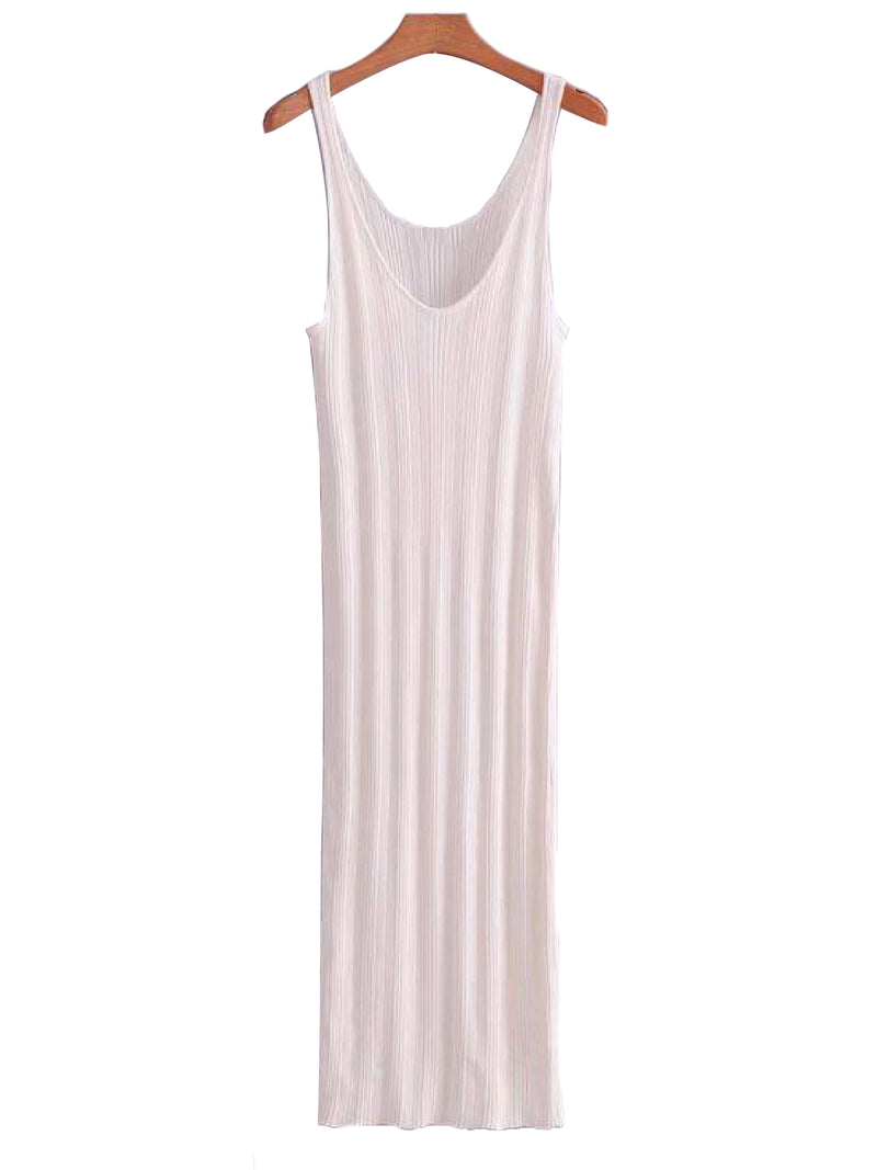 Goodnight Macaroon 'Doris' Ribbed Sleeveless Midi Dress White Front