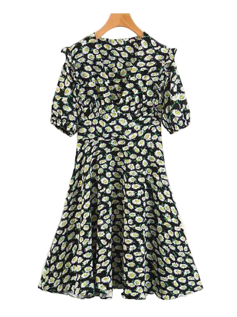 Goodnight Macaroon 'Sherry' Floral Print Ruffle Flare Dress Front
