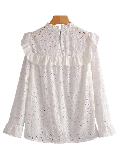 'Chana' Frilly  Eyelet Crochet Top