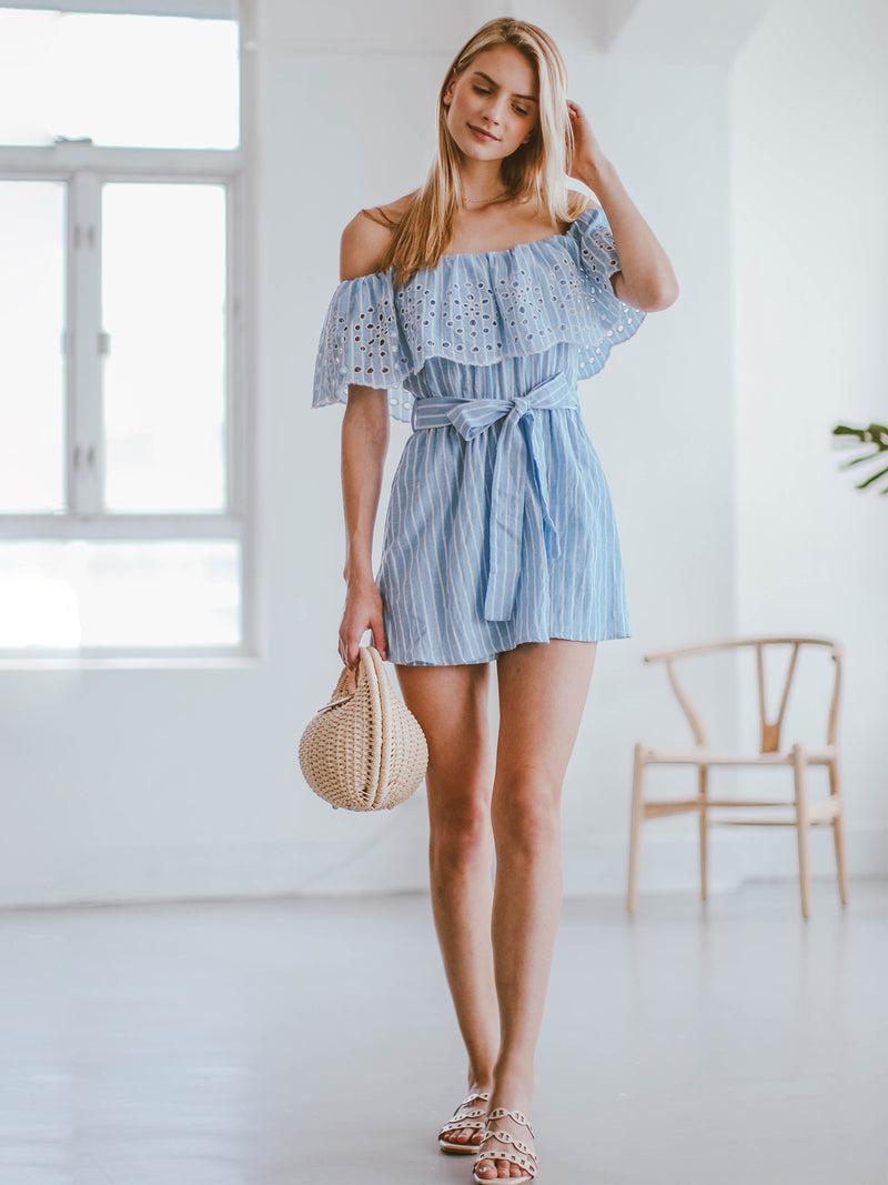 Goodnight Macaroon 'Giselle' Embroidered Off Shoulder Ruffle Romper Model Full Body