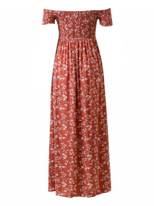 'Maisie' Off Shoulder Floral Maxi Dress