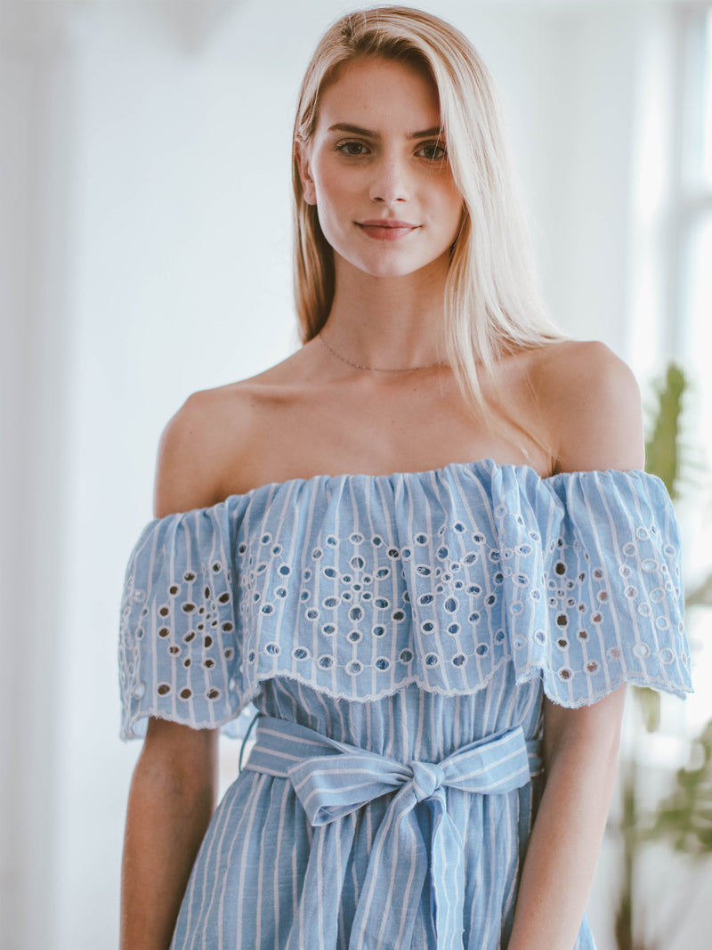 Goodnight Macaroon 'Giselle' Embroidered Off Shoulder Ruffle Romper Model Closeup