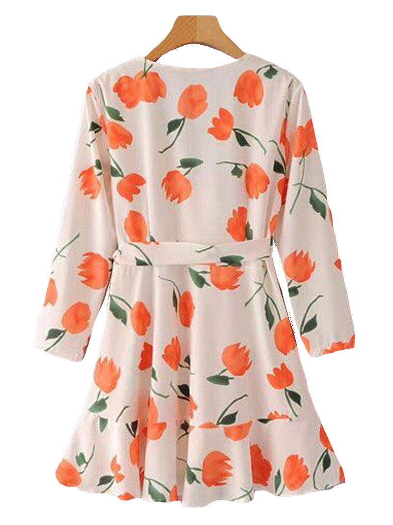 Goodnight Macaroon 'Kalista' Floral Wrap Tied Dress Back