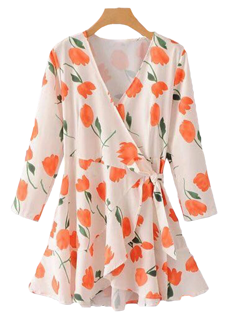 Goodnight Macaroon 'Kalista' Floral Wrap Tied Dress Front