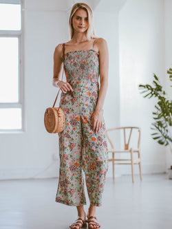 Goodnight Macaroon 'Kaelan' Floral Ruched Top Wide Leg Jumpsuit Model Full Body
