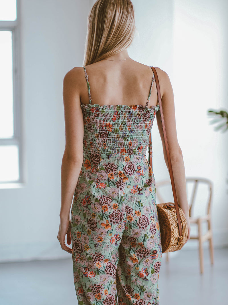 Goodnight Macaroon 'Kaelan' Floral Ruched Top Wide Leg Jumpsuit Model Back