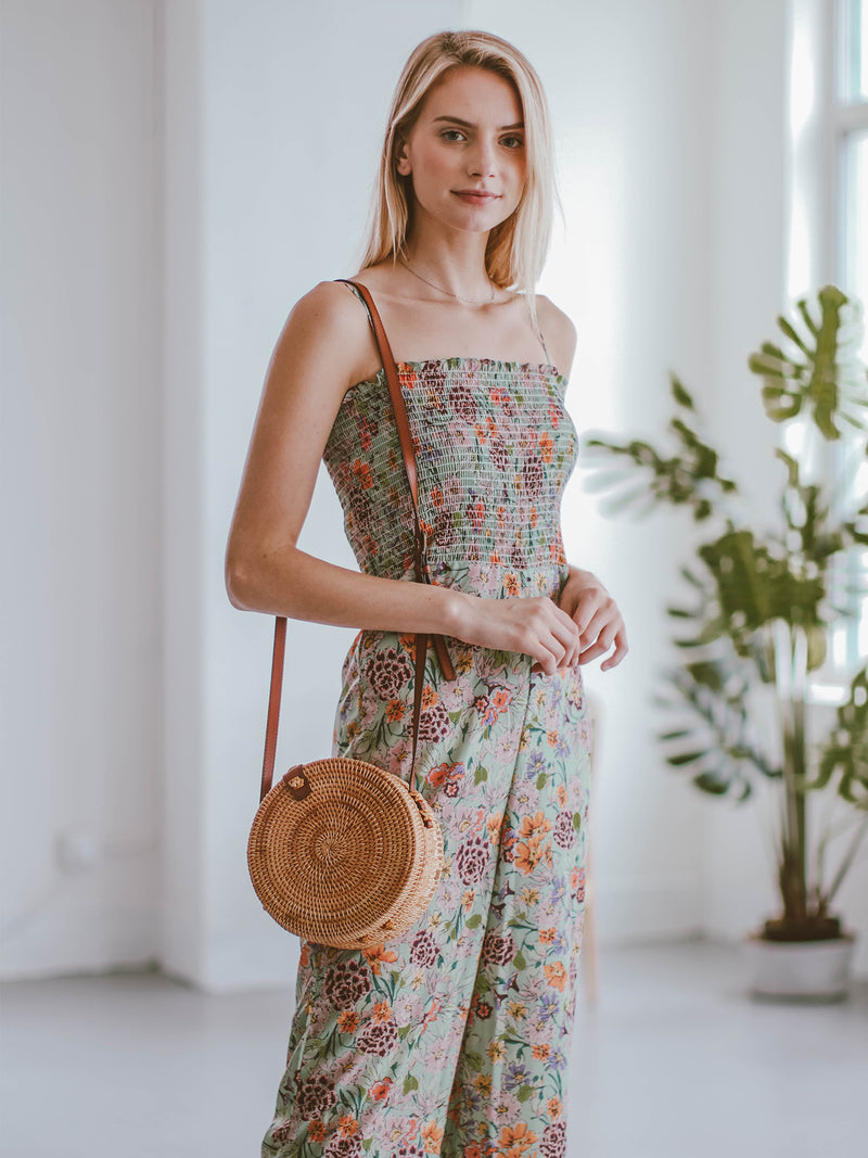 Goodnight Macaroon 'Kaelan' Floral Ruched Top Wide Leg Jumpsuit Model Side