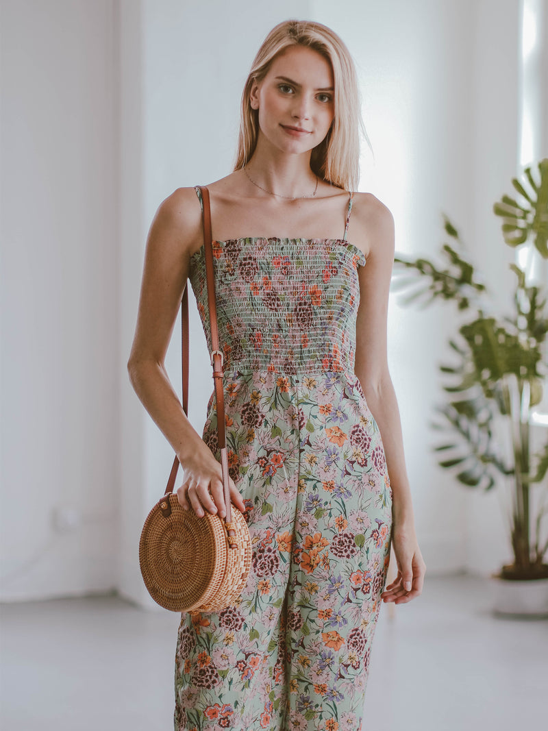Goodnight Macaroon 'Kaelan' Floral Ruched Top Wide Leg Jumpsuit Model Front
