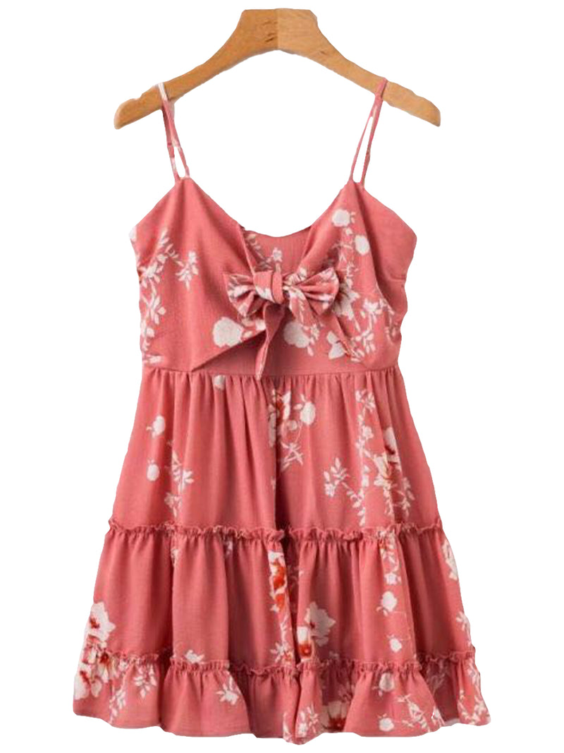 Goodnight Macaroon 'Derica' Front Tied Ruffle Peplum Floral Print Dress Front
