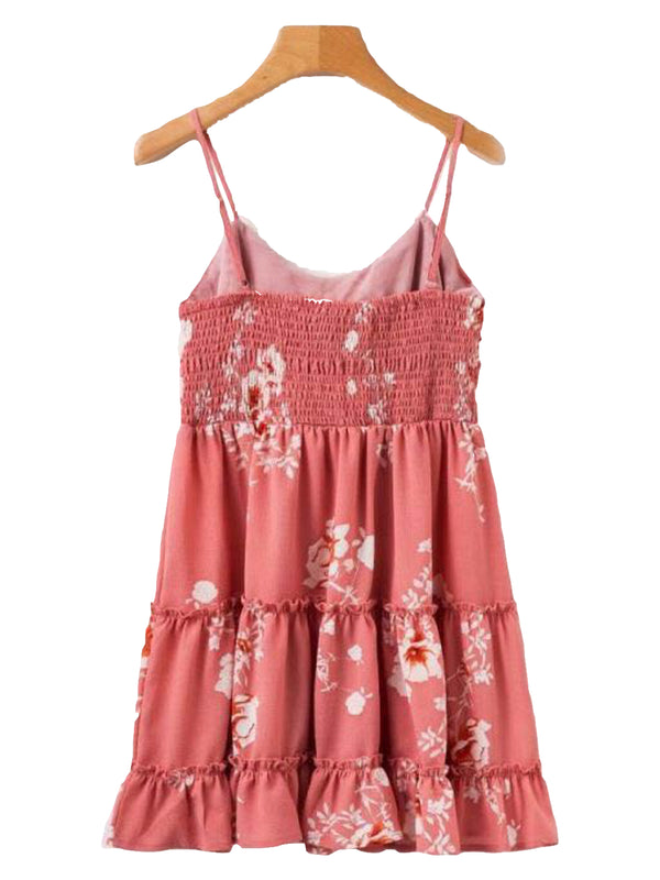 Goodnight Macaroon 'Derica' Front Tied Ruffle Peplum Floral Print Dress Back