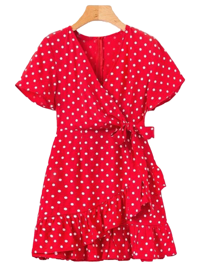 'Karter' Wrap Tied Polka Dot Peplum Dress (2 Colors)