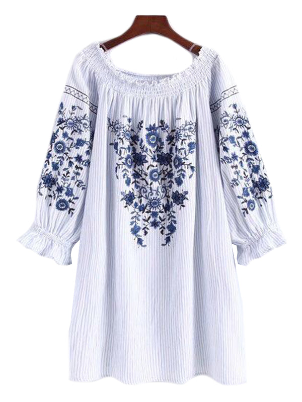 'Rosetta' Floral Embroidered Pinstripe Off the Shoulder Dress