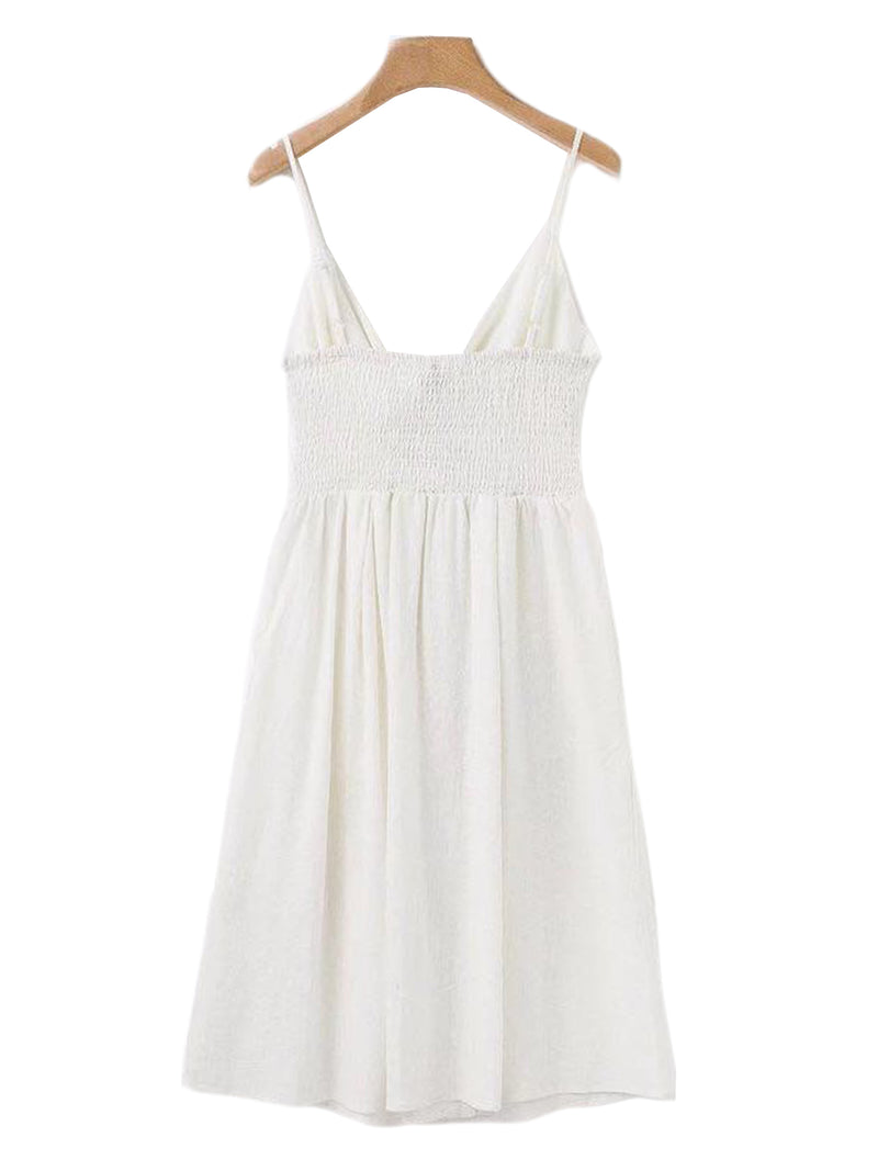 'Christine' Front Knotted Shoulder Strap Dress with Button Detail (4 Colors)
