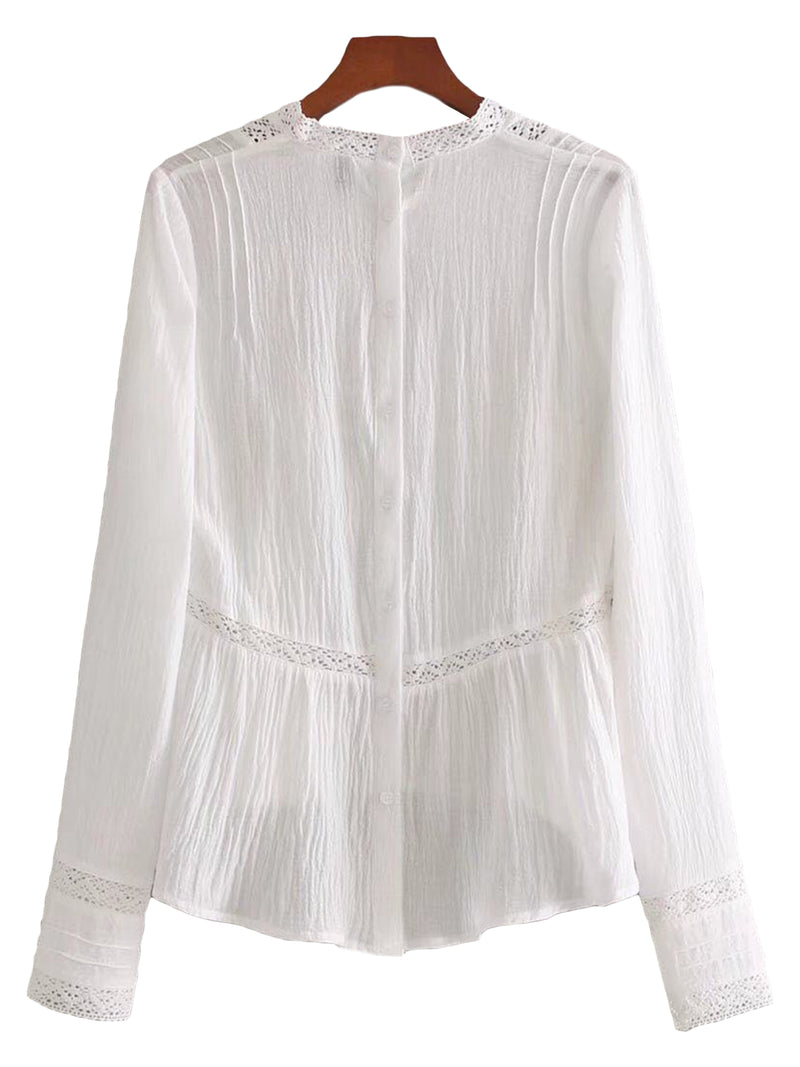 'Glennis' Embroidered Lace Pleated Top