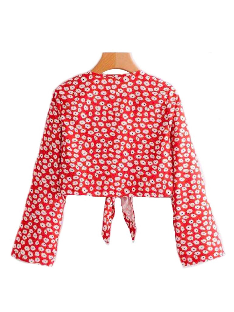 'Fricta' Wrap Tied Floral Top