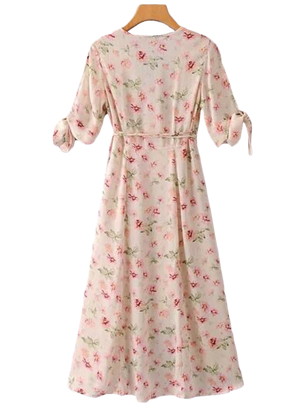 Goodnight Macaroon 'Janella' Floral Print Maxi Wrap Dress Back