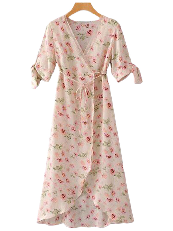 Goodnight Macaroon 'Janella' Floral Print Maxi Wrap Dress Front