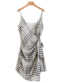 Goodnight Macaroon 'Hera' Plaid Side Tied Shoulder Strap Wrap Dress Front