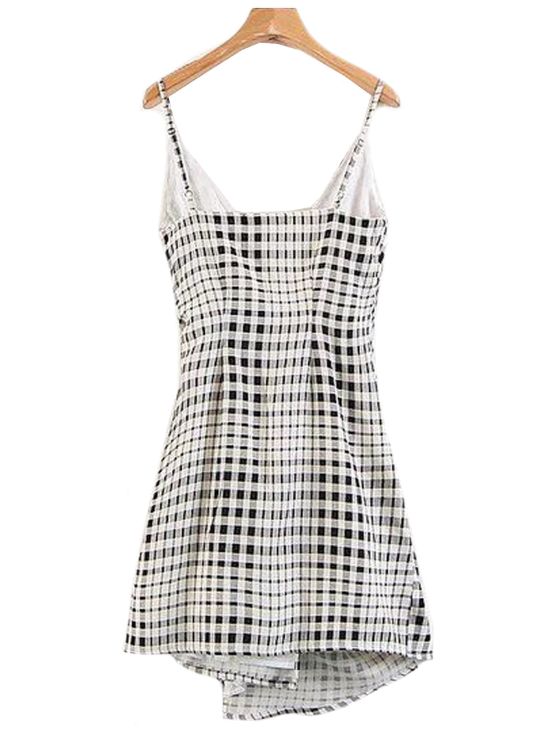 Goodnight Macaroon 'Hera' Plaid Side Tied Shoulder Strap Wrap Dress Back