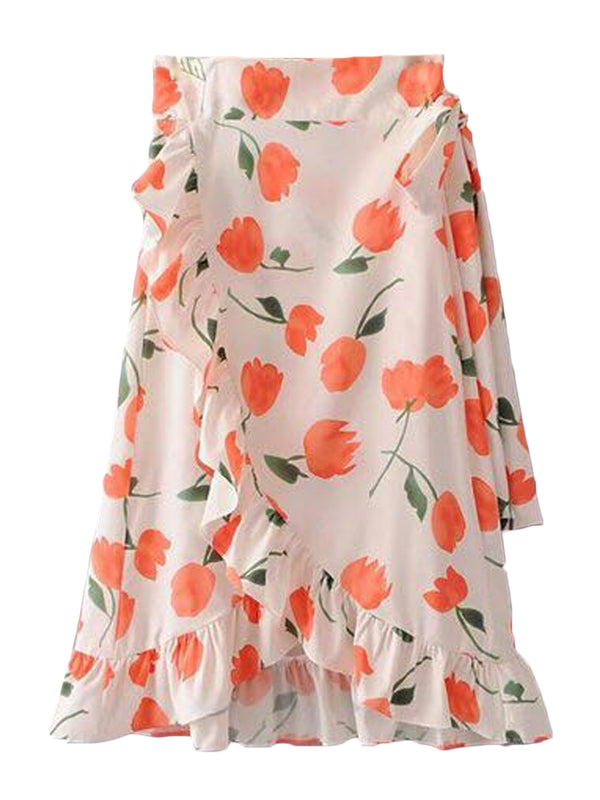 Goodnight Macaroon 'Lilly' Floral Print Ruffle Hem Wrap Midi Skirt Front