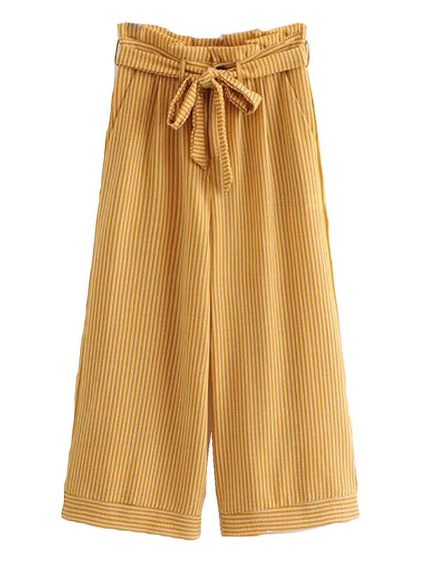 Goodnight Macaroon 'Rosy' Yellow Striped Belted Straight Pants Front