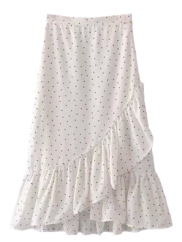 Goodnight Macaroon 'Stephanie' Dotted Wrap Tied Ruffle Midi Skirt White Front