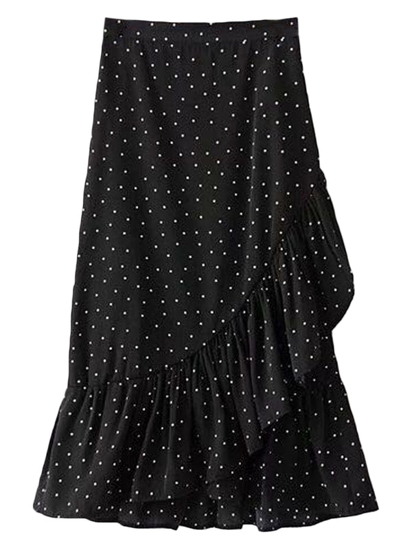 Goodnight Macaroon 'Stephanie' Dotted Wrap Tied Ruffle Midi Skirt Black Front