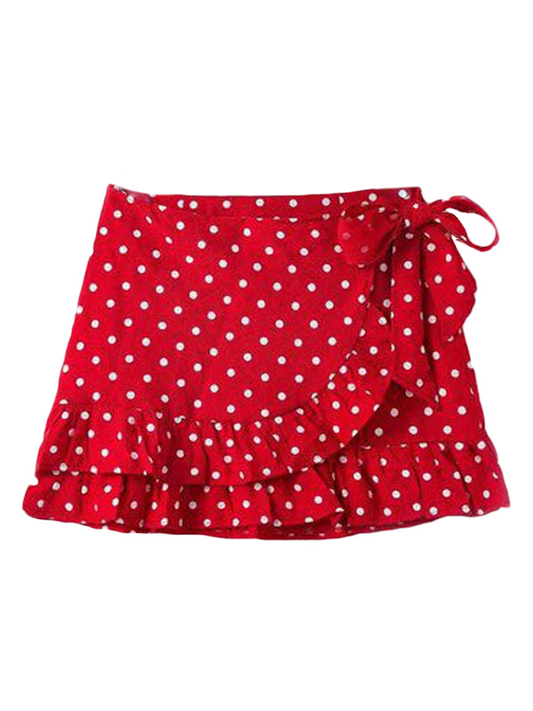 Goodnight Macaroon 'Verity' Dotted Wrap Tied Ruffle Mini Skirt Red Front