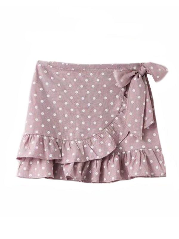 Goodnight Macaroon 'Verity' Dotted Wrap Tied Ruffle Mini Skirt Pink Front