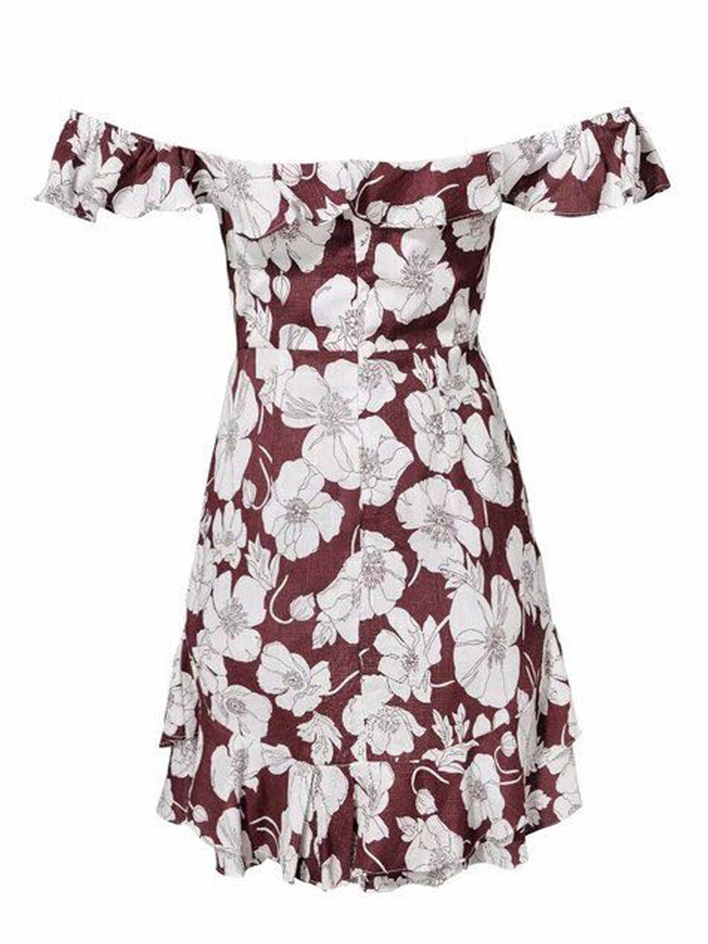 Goodnight Macaroon 'Trixy' Floral Print Ruffle Cold Shoulder Dress Mauve Back
