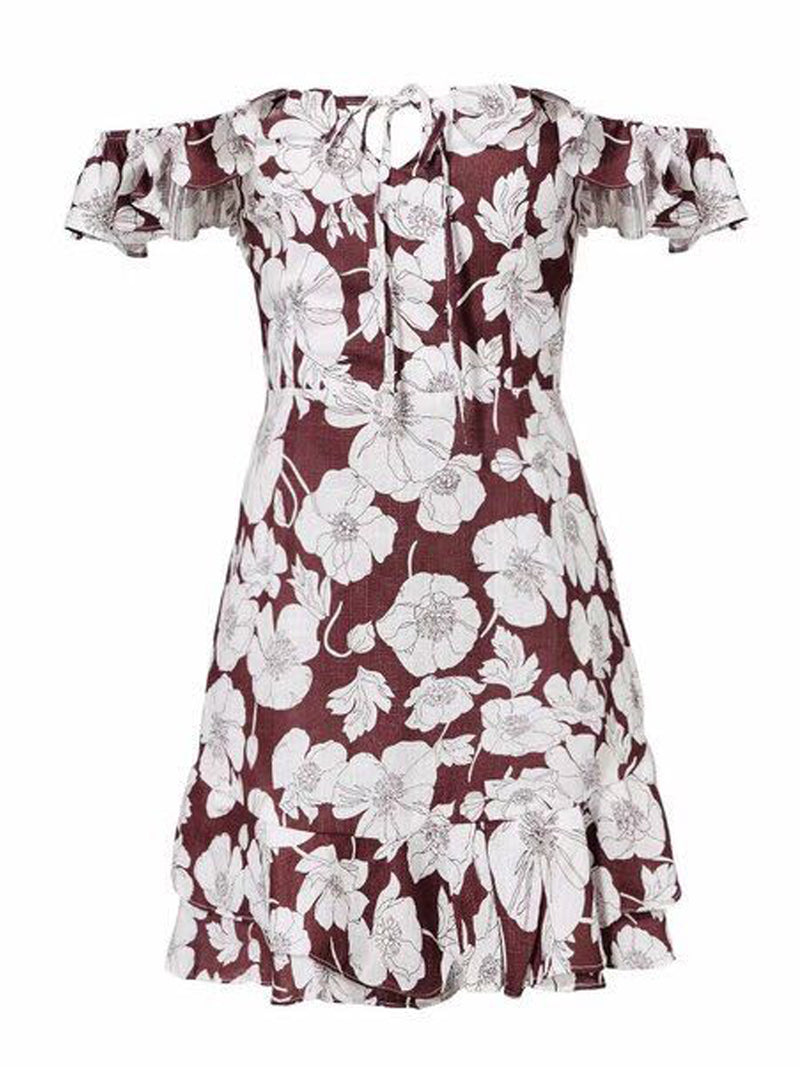 Goodnight Macaroon 'Trixy' Floral Print Ruffle Cold Shoulder Dress Mauve Front