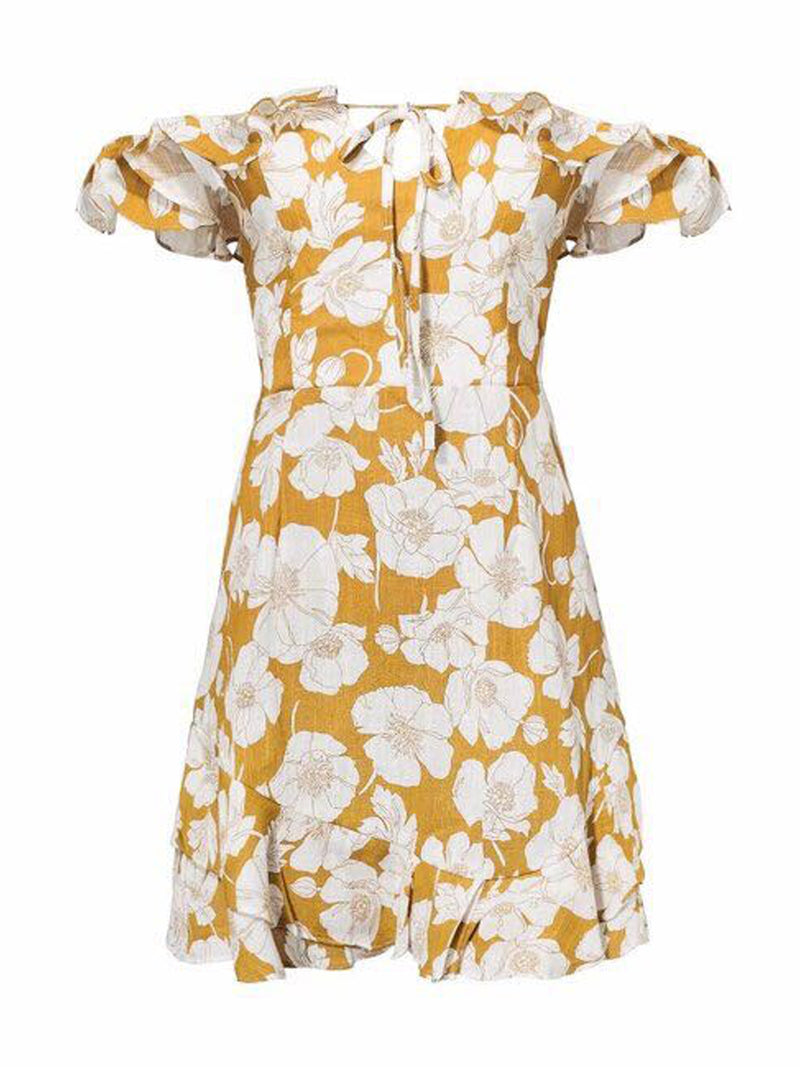 Goodnight Macaroon 'Trixy' Floral Print Ruffle Cold Shoulder Dress Yellow Front