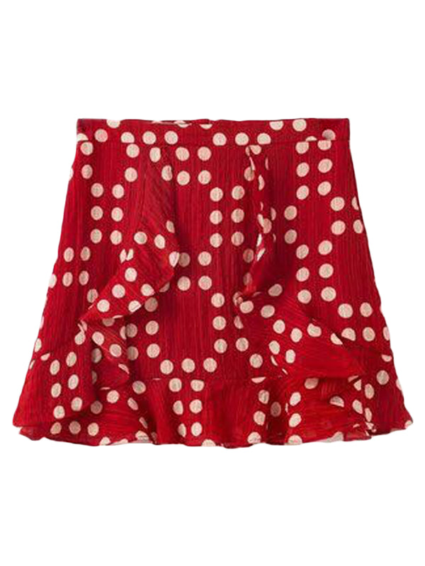 Goodnight Macaroon 'Zora' Dotted Swiss Ruffle Mini Skirt Red Front
