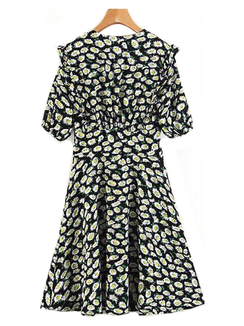 Goodnight Macaroon 'Sherry' Floral Print Ruffle Flare Dress Back
