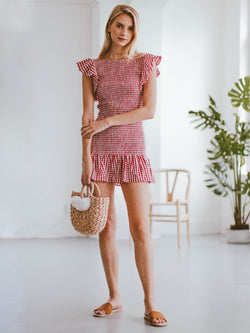 Goodnight Macaroon 'Carmen' Gingham Ruffle Ruched Mini Dress Model Full Body