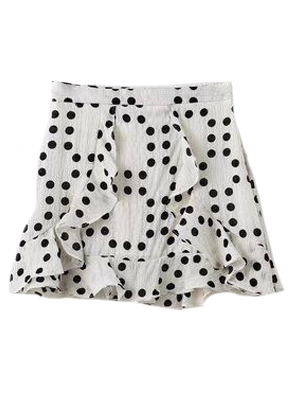 Goodnight Macaroon 'Zora' Dotted Swiss Ruffle Mini Skirt White Front