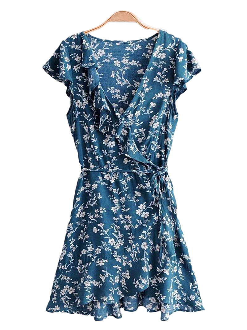 Goodnight Macaroon 'Presley' Floral Print Ruffle Side Tied Wrap Dress Front