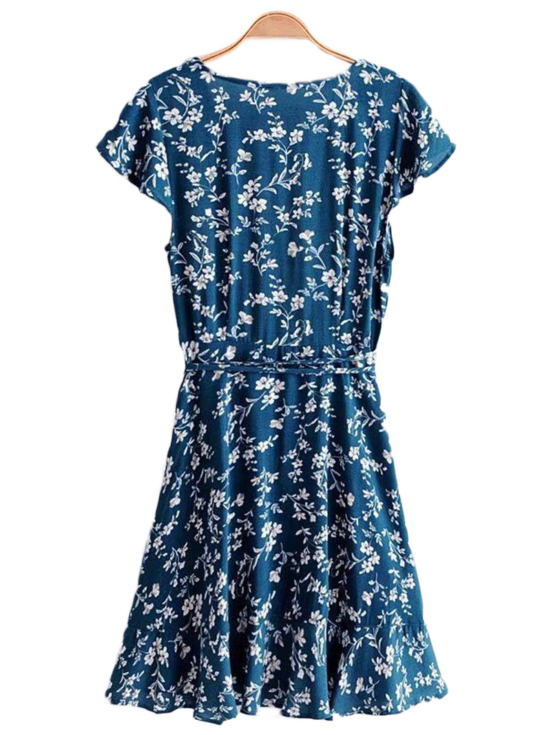 Goodnight Macaroon 'Presley' Floral Print Ruffle Side Tied Wrap Dress Back