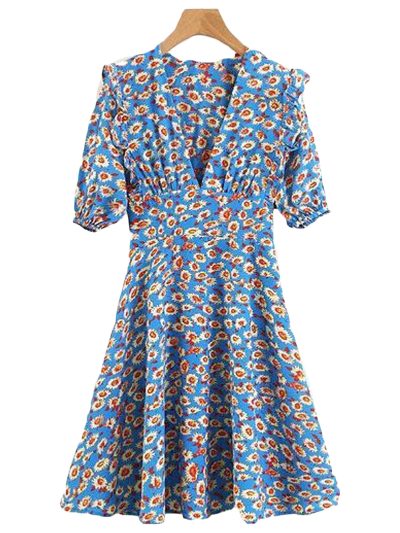 Goodnight Macaroon 'Shea' Floral Print Ruffle Flare Dress Front