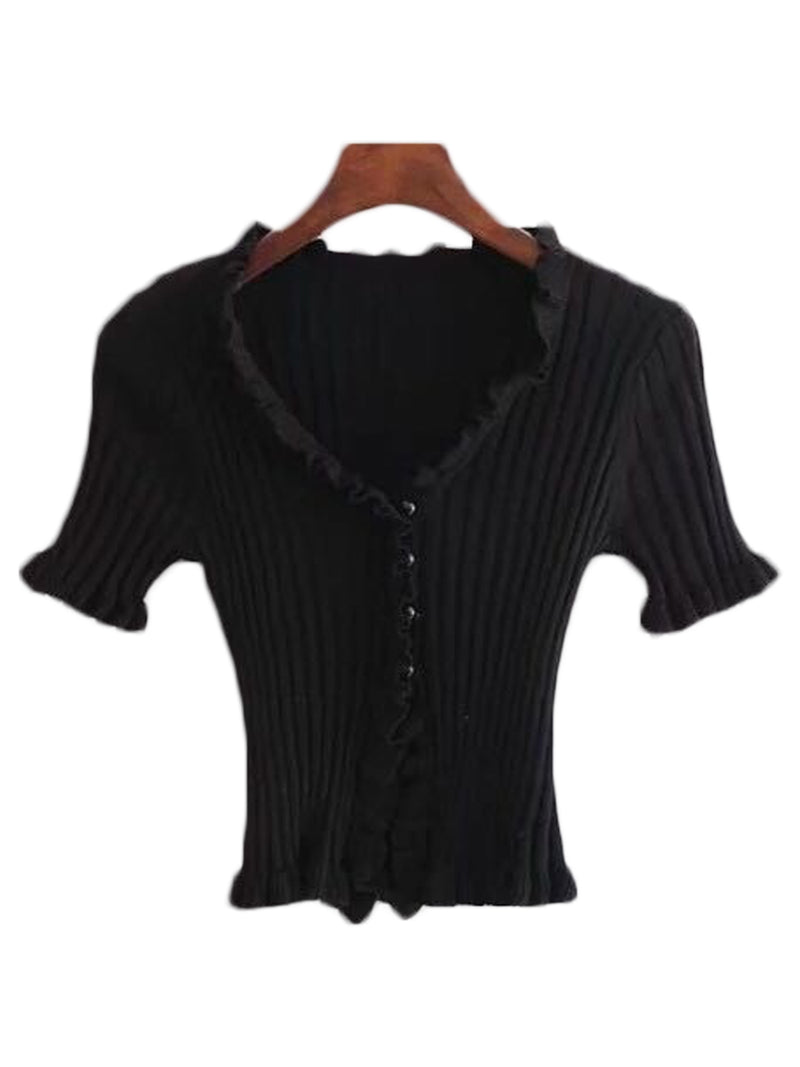 'Jalice' Frill Buttoned Top (4 Colors)