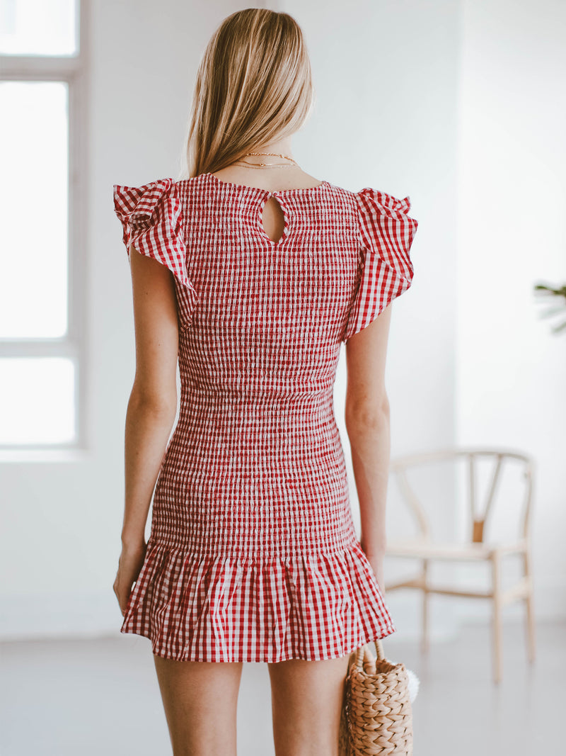 Goodnight Macaroon 'Carmen' Gingham Ruffle Ruched Mini Dress Model Back