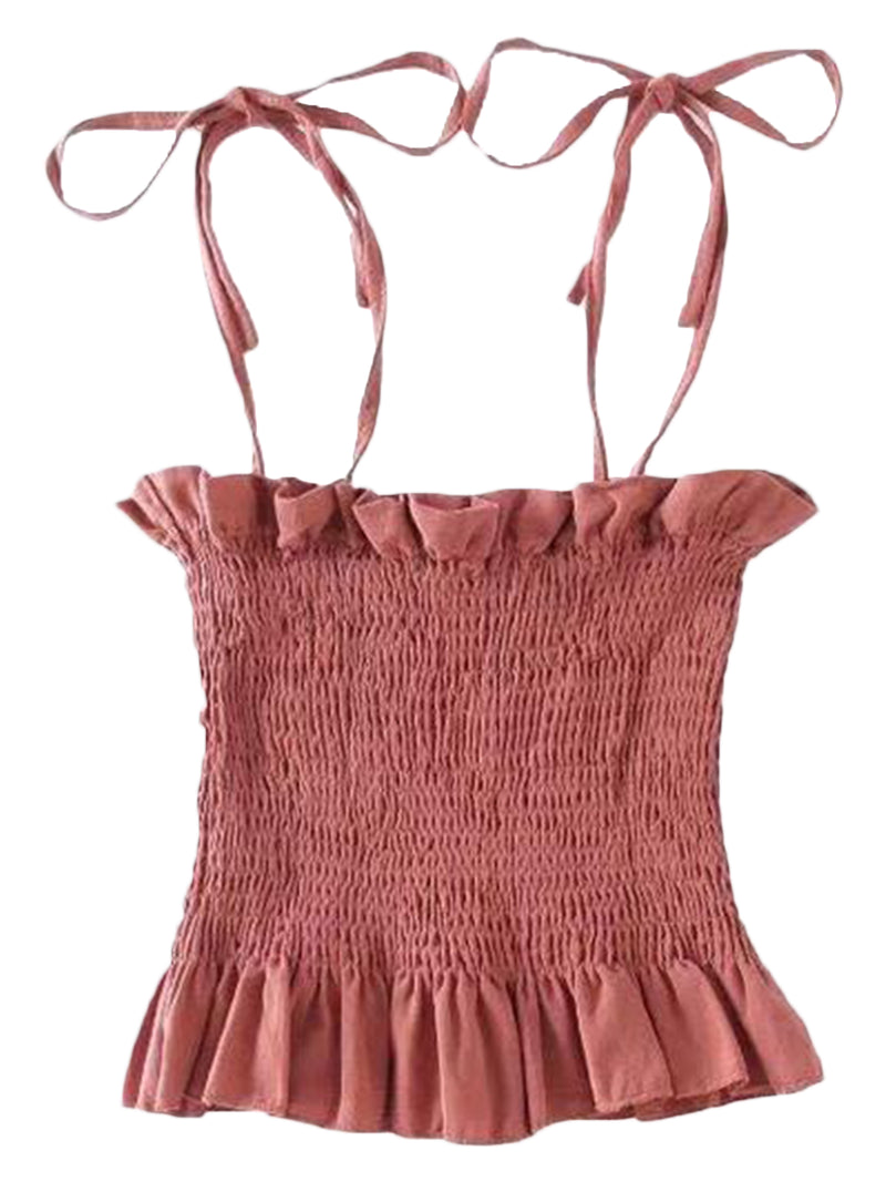 'Fabiolla' Tied Strap Ruched Frill Top (2 Colors)
