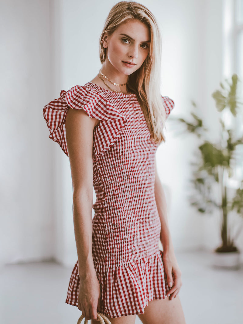 Goodnight Macaroon 'Carmen' Gingham Ruffle Ruched Mini Dress Model Side