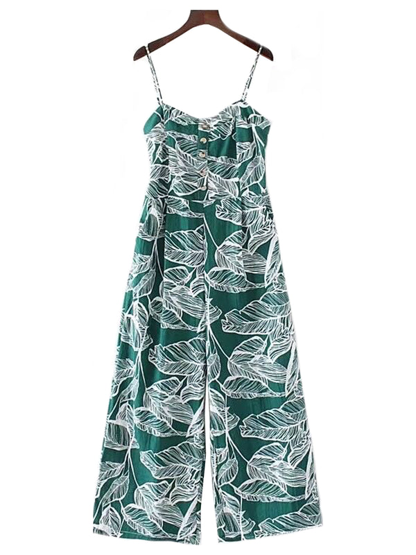 'Misti' Cami Leaf Print Jumpsuit (2 Colors)